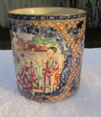 ANTIQUE 18thC CHINESE FAMILLE ROSE MANDARIN PORCELAIN TANKARD