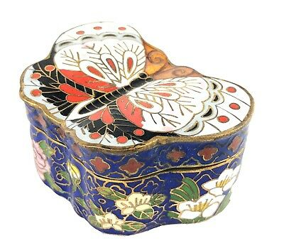 Colorful Chinese Cloisonne Enamel Butterfly Shaped Trinket Box Candle