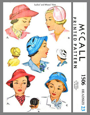 Vintage McCall Millinery Cloche Sun Hats Fabric Material Sewing Pattern  #1506