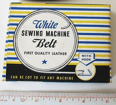 """Rare Vintage WHITE Sewing Machine Belt Leather IN BOX 1930s 1940s 72"""" + Extra"""