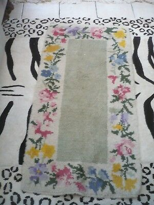 """Stunning antique floral tapestry rug 56""""/27"""" pretty foral border handmade grey"""