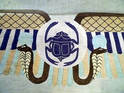 Handmade Egyptian Scarab and Snake tapestry, early 1900's, Grand Tour souvenir