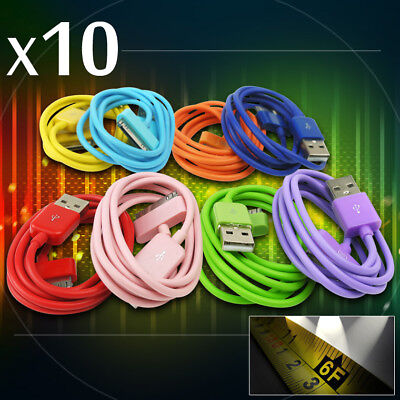 10X 8-Color 6Ft Usb 30Pin Cable Cord Data Sync Charger Samsung Galaxy Tab Tablet