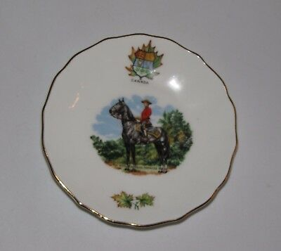 Vtg Mini Fine Bone China England Plate The Royal Canadian Mounted Mountie Police