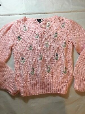 VIntage LADY VAN HEUSEN HAND KNIT Acrylic Pink Flowers Sweater 60's Pin Up Vtg S