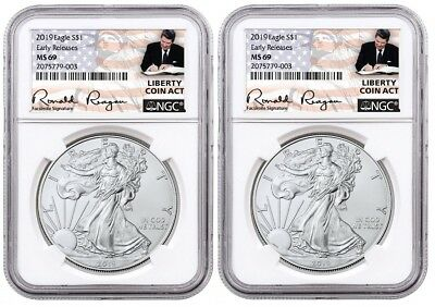 2019 1oz Silver Eagle NGC MS69 - ER Liberty A Coin Act White Core 2 Pack PRESALE