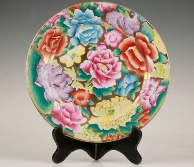 Rare Chinese Porcelain Plate Painting Home Decoration + Wood Bracket Gift