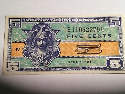 UNITED STATES series 521 5 cent Military Payment Certificate excellent condition