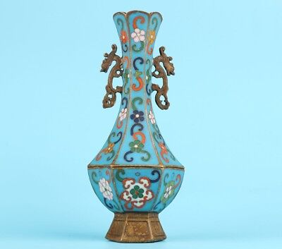 Old Chinese Cloisonne Handmade Enamel Vase Pinch Silk Old Art Collection