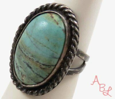 Sterling Silver Vintage 925 Navajo Blue Turquoise Ring Sz 5 (11.5g) - 746072