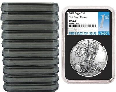 2019 1oz Silver Eagle NGC MS69 - First Day Issue - Black Core - 10 Pack