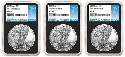 2019 1oz Silver Eagle NGC MS70 - First Day Issue - Black Core - 3 Pack