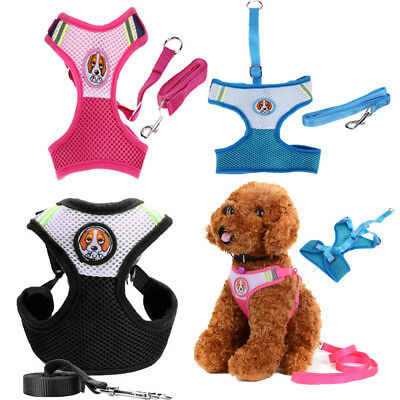 Soft Mesh Small Pet Dog Vest Harness Puppy Breathe Chest Collar Walk Leash Lead