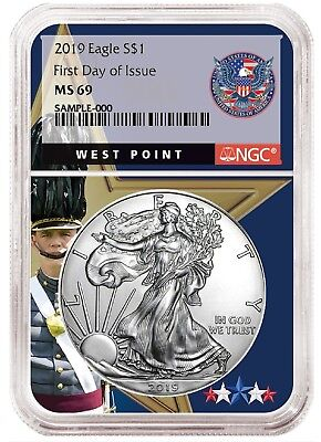 2019 1oz Silver Eagle NGC MS69 - First Day Issue - West Point Core