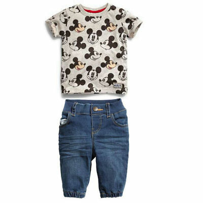 2PCS Baby Boys Mickey Mouse Short Sleeve T-shirt+Denim Pants Kids Casual Clothes