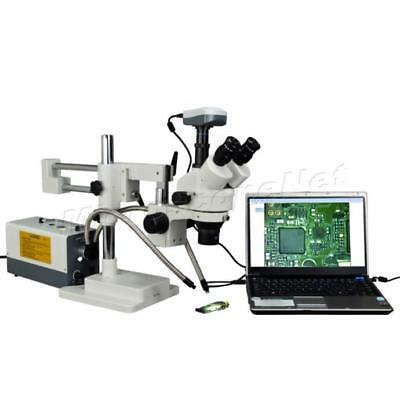 Dual-arm 9.0MP Digital Camera Stereo Zoom Trinocular Microscope+Dual Fiber Light