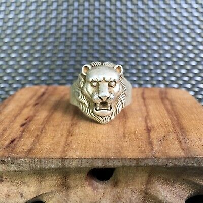 Collectible Chinese Old Tibet Silver Handwork Antique fierce Lion Amulet Ring