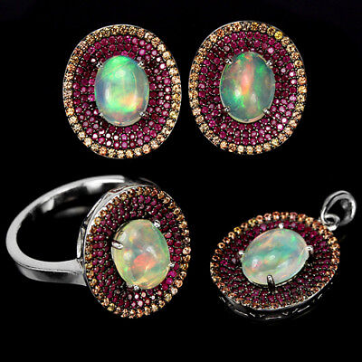 Natural Aaa Rainbow Opal & Multi Color Sapphire Sterling 925 Silver Set Size 8