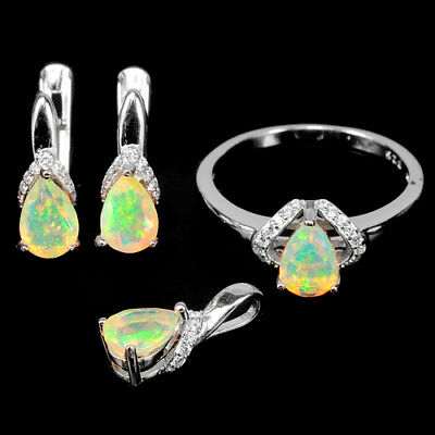 Natural Aaa Rainbow Opal Pear & White Cz Sterling 925 Silver Set Size 7.25