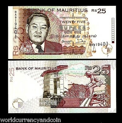 Mauritius 25 Rupees P42 1998 Ahchuen *error Unc Money Africa Bill Bank Note