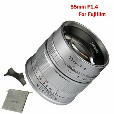 7artisans 55mm F1.4 APS-C Silver Manual Focus Lens For Fuji X-Mount X-M1/X-Pro1