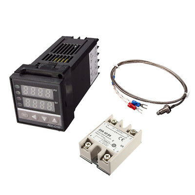 Digital PID REX-C100 Temperature Controller + max.40A SSR + K Thermocouple