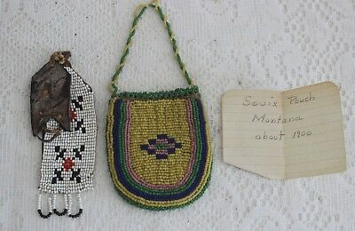 SIOUX LEATHER BEADED POUCH BAG ~ EARLY 1900s / MONTANA