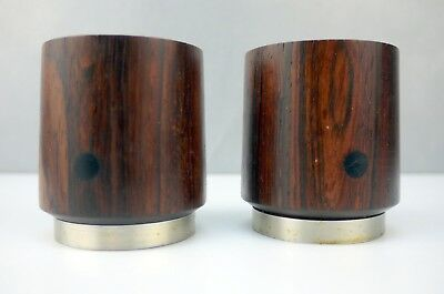 Pr VTG Mid Century DANISH Modern ROSEWOOD Ebony STAINLESS Candle Sticks Holders
