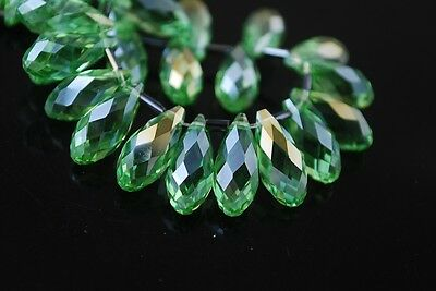 20pcs 16X8mm Teardrop Faceted Crystal Glass Pendant Loose Beads Light Green AB