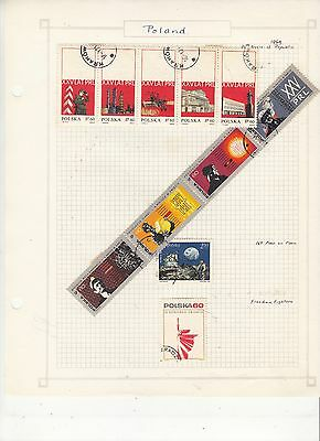 POLAND  1969 Stamps on old Album Page Removed for Shipping Anniv.,, Etc