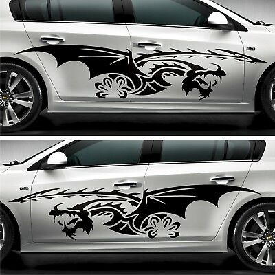 2x Tribal Flames Car Decal Dragon Tuning Stickers Car