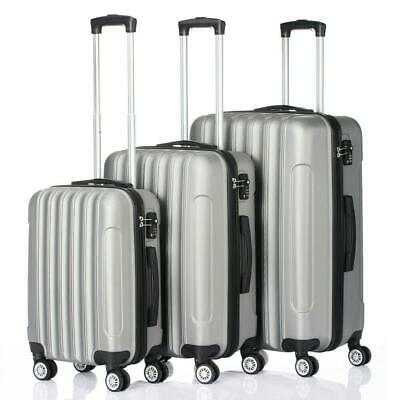 3 PCS Luggage Travel Set Bag ABS Trolley Hard Shell Suitcase w/TSA lock Grey