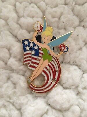 WDW Walt Disney World Tinker Bell Official Trading Pin With American Flag 2004