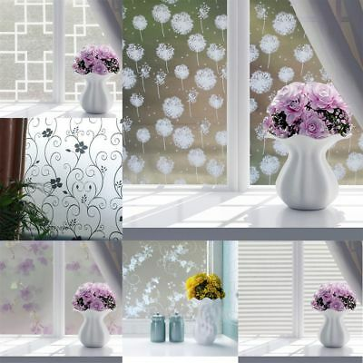 Flowers Door Frosted Opaque Grille Window Film Glass Sticker Privacy Adhesive