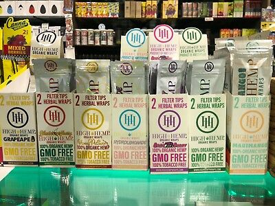 High Hemp COMBO DEAL 25 pouches(50 wraps total) Herbal Organic Wraps Free Minty