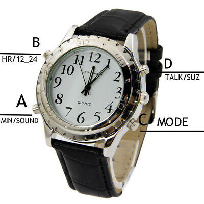 New Digital English Talking Watch Leather Strap For Blind Person or the WT UK