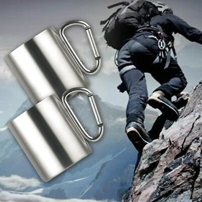 Portable Stainless Steel Camping Mug Hiking Sports Cup With Carabiner Hook