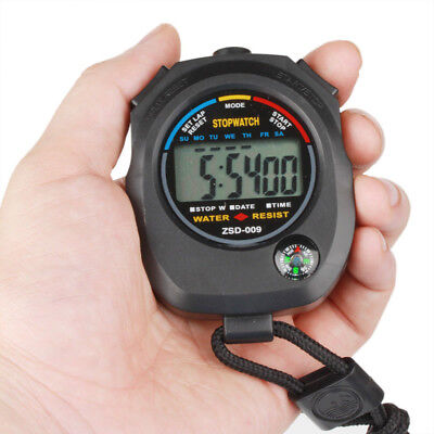Waterproof Digital Handheld Sports Stopwatch Stop Watch Timer Alarm Counter New