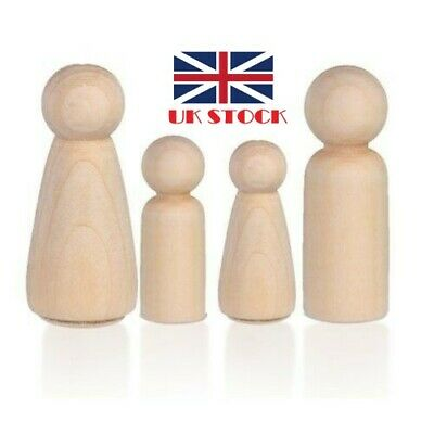 1-4pack Wooden Peg Doll Unfinished Family People DIY/Wedding Craft Man/Lady/Kids