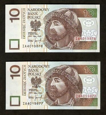 Poland 10 Zlotych  Set Two Banknotes 1994  UNC Consecutive Number