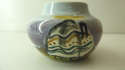 Small Martin Boyd Hand Painted Pot Sail Boat , Mexicans Basket Signed