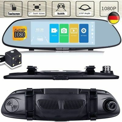 "HD 1080P 7"" Android Navigation Dual Lens Auto Kamera Rearview Mirror Cam DVR"