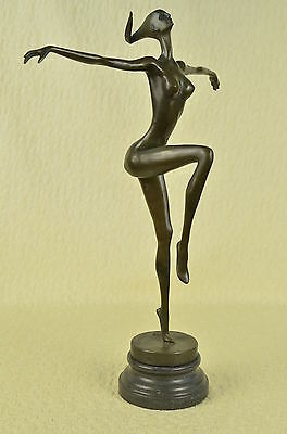 Original Art Deco Modern  Abstract Nude Female Figure Bronze Statue Brown Signed