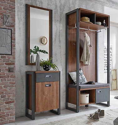 Garderobe Flurgarderobe Dielenset Detroit Stirling Oak / schiefer 854383