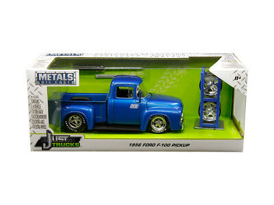 BoxDented 1956 FORD F-100 PICKUP TRUCK W/ EXTRA WHEELS BLUE 1/24 BY JADA 30709