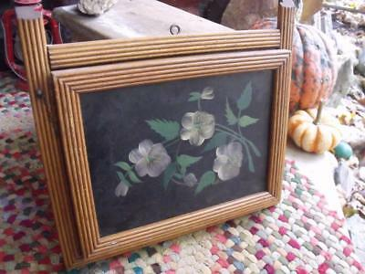 Lovely Primitive Antique Wall Hanging Wall Pocket Folk Art Painted Flowers