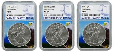 2019 1oz Silver Eagle NGC MS69 - Early Releases - Eagle Core 3 Pack