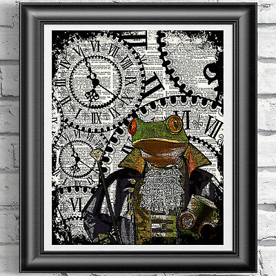 Steampunk Frog art print on original dictionary book page Home Decor Dandy Frog