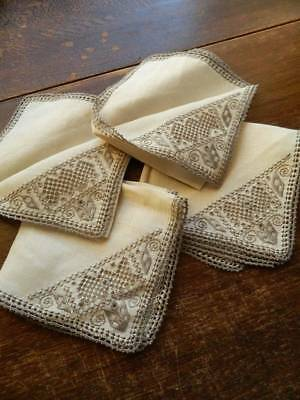 Four vintage Irish linen hand embroidered table napkins with Lefkara embroidery