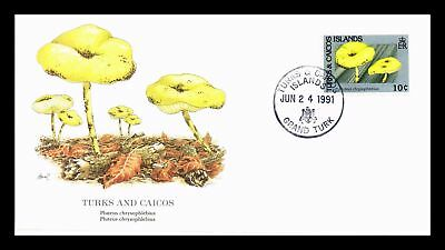 Dr Jim Stamps Mushroom Pluteus Chrysophlebius Fdc Turks And Caicos Monarch Cover